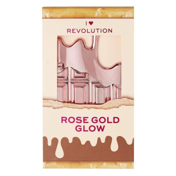 I Heart Revolution Mini Chocolate Highlighter Palette 11.2g- Rose Gold Glow