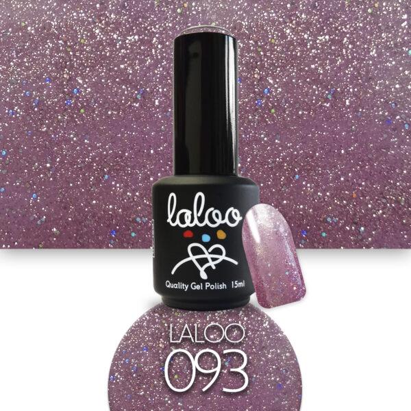Ημιμόνιμο βερνίκι Laloo Cosmetics 15ml - N.93 Ροζ-μωβ με ψιλό glitter
