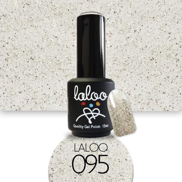 Ημιμόνιμο βερνίκι Laloo Cosmetics 15ml - N.95 Σαμπανί με glitter (χρυσός/ασημί κόκκος)
