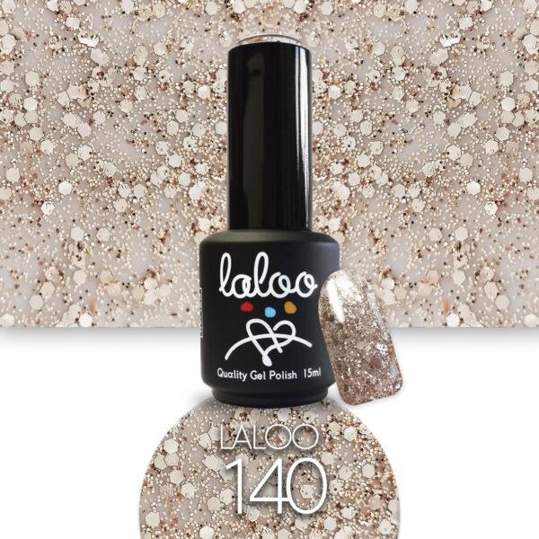 Ημιμόνιμο βερνίκι Laloo Cosmetics 15ml - N.140 Μπρονζέ glitter (χοντρή πούλια)