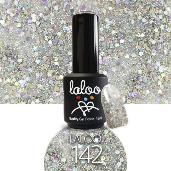 Ημιμόνιμο βερνίκι Laloo Cosmetics 15ml - N.142 Ασημί ιριδίζον (χοντρή πούλια)