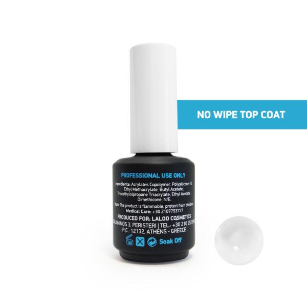 Top Coat Non Wipe για ημιμόνιμο βερνίκι Laloo Cosmetics 15ml
