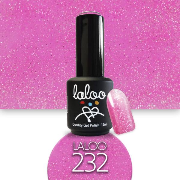 Ημιμόνιμο βερνίκι Laloo Cosmetics 15ml - N.232 Φούξια ανοιχτό glitter