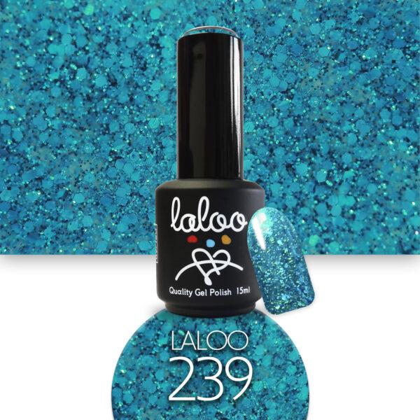 Ημιμόνιμο βερνίκι Laloo Cosmetics 15ml - N.239 Τυρκουάζ glitter