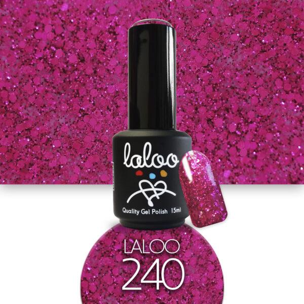Ημιμόνιμο βερνίκι Laloo Cosmetics 15ml - N.240 Φούξια glitter
