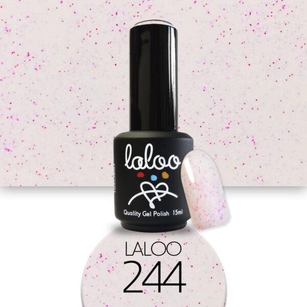 Ημιμόνιμο βερνίκι Laloo Cosmetics 15ml - N.244 Ροζ nude με pigment φούξια-γαλάζιο-λευκό