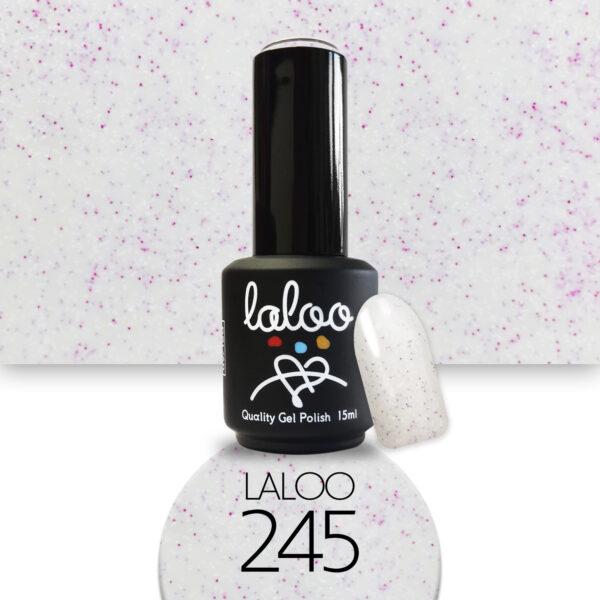 Ημιμόνιμο βερνίκι Laloo Cosmetics 15ml - N.245 Milky λευκό με pigment φούξια-λευκό