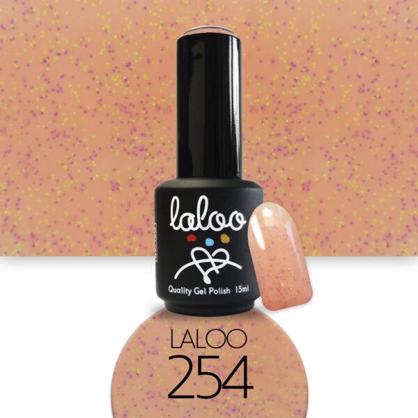 Ημιμόνιμο βερνίκι Laloo Cosmetics 15ml - N.254 Ροδακινί με pigment μωβ-κίτρινο