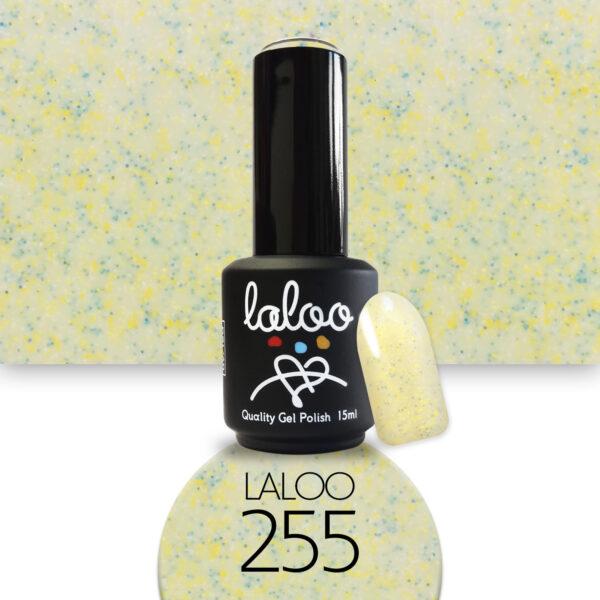 Ημιμόνιμο βερνίκι Laloo Cosmetics 15ml - N.255 Κίτρινο-Μπανανί με pigment βεραμάν-λευκό