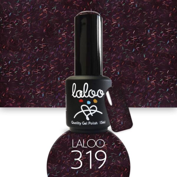 Ημιμόνιμο βερνίκι Laloo Cosmetics 15ml - N.319 Μελιτζανί-μπορντώ σκούρο με ιριδίζουσες ίνες