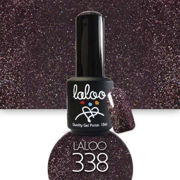 Ημιμόνιμο βερνίκι Laloo Cosmetics 15ml - N.338 Μελιτζανί σκούρο με πολύχρωμο ψιλό glitter