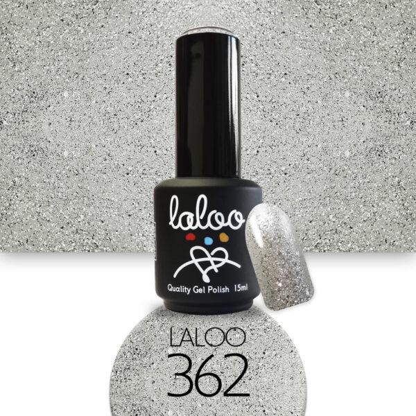 Ημιμόνιμο βερνίκι Laloo Cosmetics 15ml - N.362 Ασημί glitter (ψιλόκκοκο, υπέρκαλυπτικό)