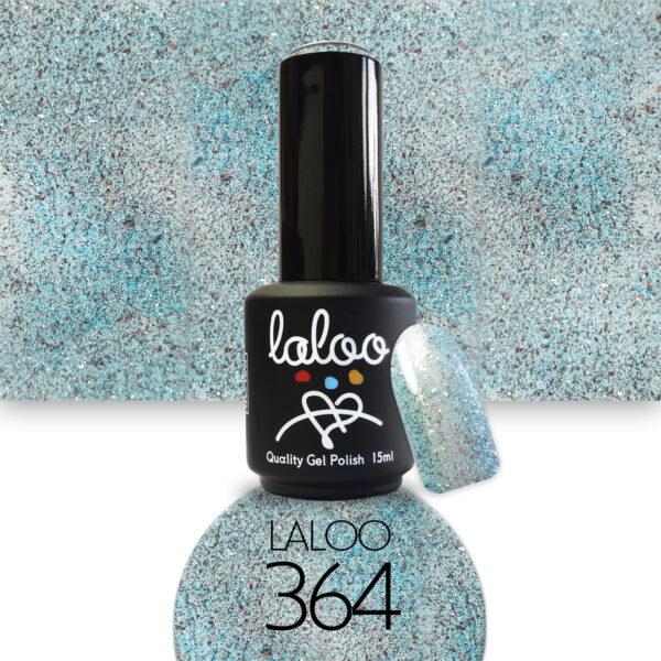 Ημιμόνιμο βερνίκι Laloo Cosmetics 15ml - N.364 Τυρκουάζ glitter (ψιλόκκοκο, υπέρκαλυπτικό)