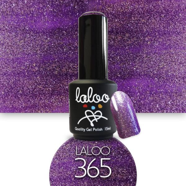 Ημιμόνιμο βερνίκι Laloo Cosmetics 15ml - N.365 Μωβ λιλά glitter (ψιλόκκοκο, υπέρκαλυπτικό)