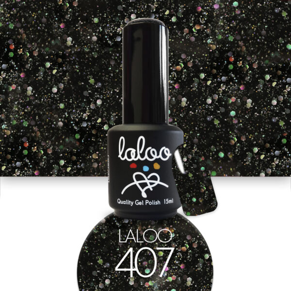 Ημιμόνιμο βερνίκι Laloo Cosmetics 15ml - N.407 Μαύρο με ιριδίζον glitter