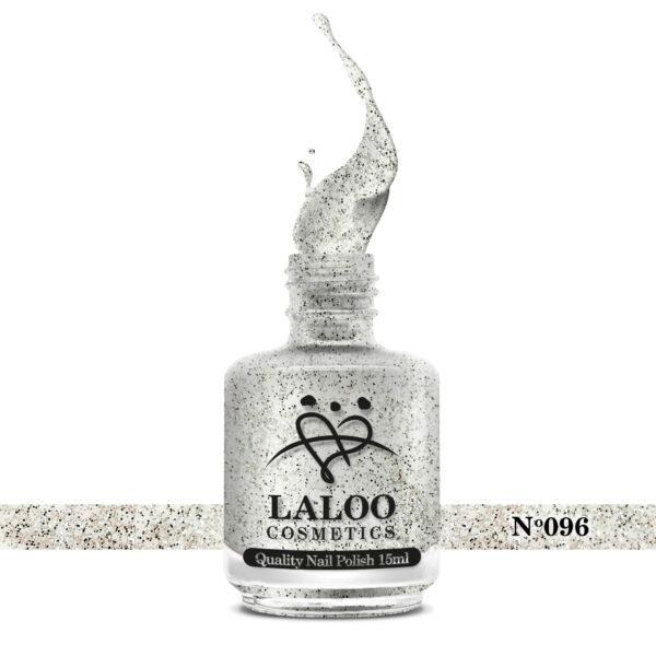 Απλό βερνίκι Laloo Cosmetics 15ml - N.96 Ασημί glitter (ψιλός κόκκος)