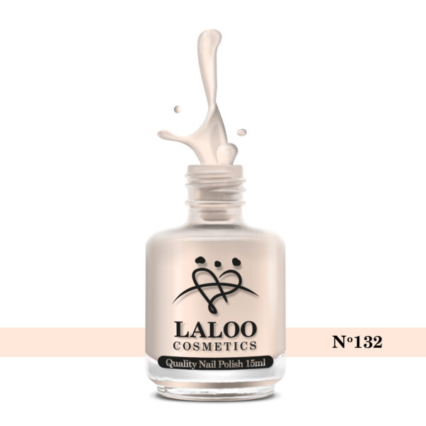 Απλό βερνίκι Laloo Cosmetics 15ml - N.132 Pink natural ημιδιάφανο (βάση γαλλικού)