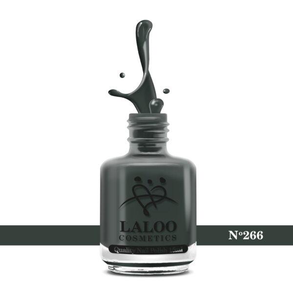 Απλό βερνίκι Laloo Cosmetics 15ml - N.266 Χακί-γκρι σκούρο
