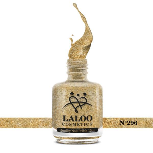 Απλό βερνίκι Laloo Cosmetics 15ml - N.296 Χρυσό glitter ψιλός κόκκος