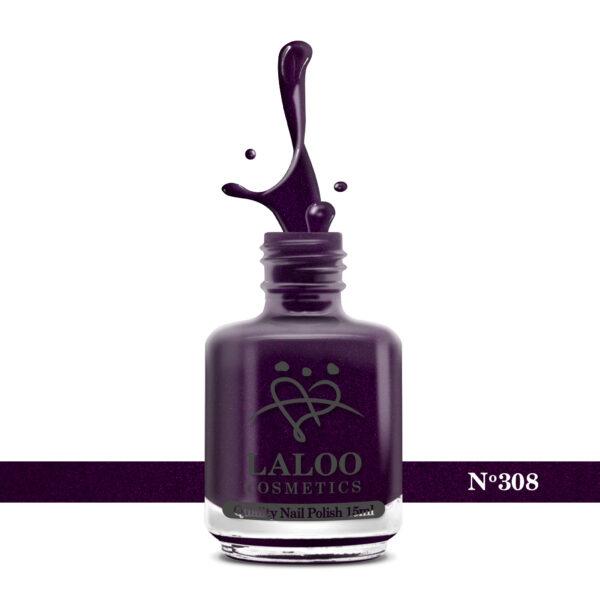 Απλό βερνίκι Laloo Cosmetics 15ml - N.308 Μωβ σκούρο με ελαφρύ shimmer