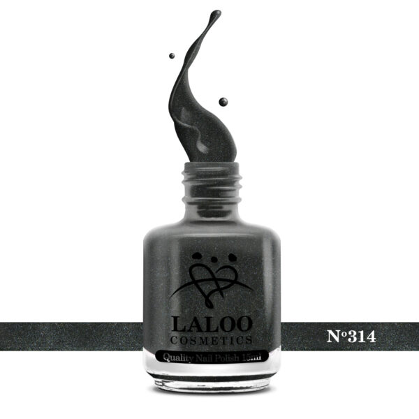 Απλό βερνίκι Laloo Cosmetics 15ml - N.314 Γραφίτης με ελαφρύ ιριδίζον shimmer