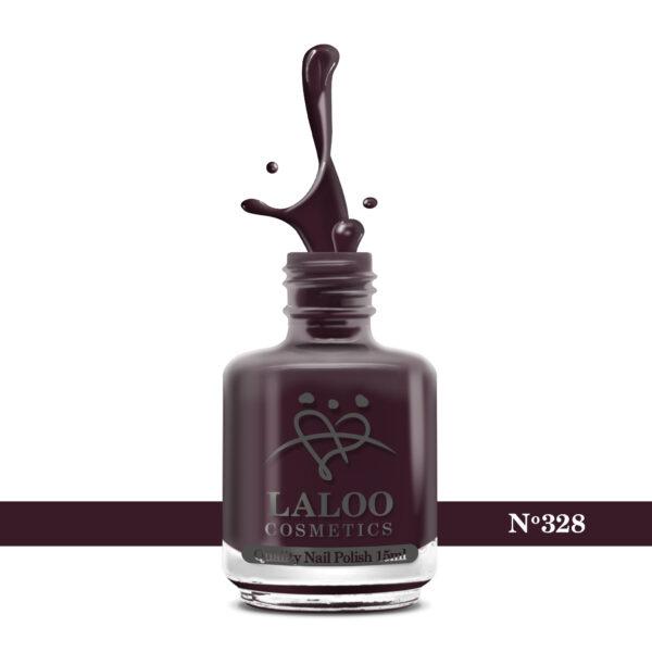 Απλό βερνίκι Laloo Cosmetics 15ml - N.328 Μπορντώ μελιτζανί σκούρο