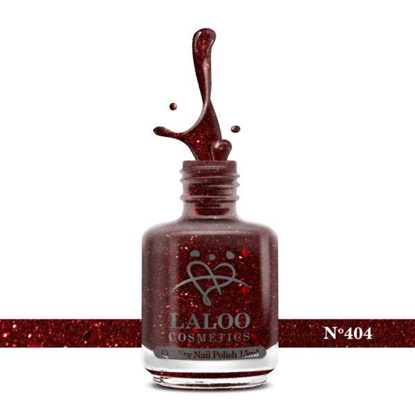 Απλό βερνίκι Laloo Cosmetics 15ml - N.404 Κόκκινο βαθύ με glitter