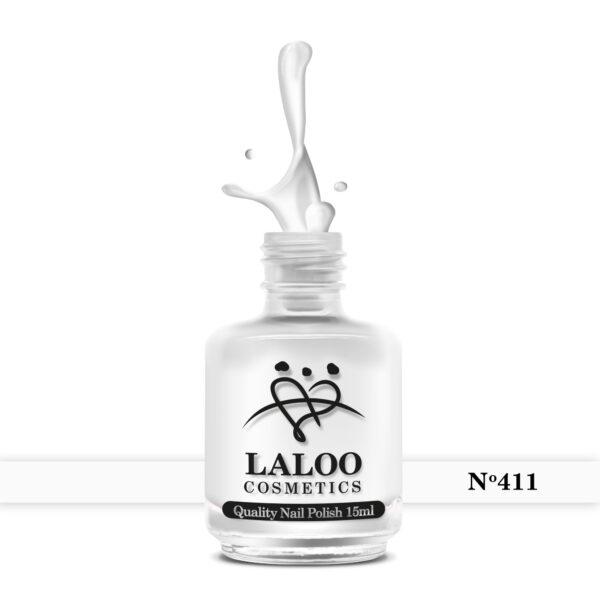 Απλό βερνίκι Laloo Cosmetics 15ml - N.411 Σπασμένο λευκό (υπόλευκο)