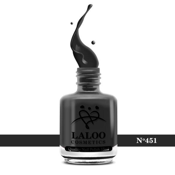 Απλό βερνίκι Laloo Cosmetics 15ml - N.451 Γκρι ανθρακί πολύ σκούρο