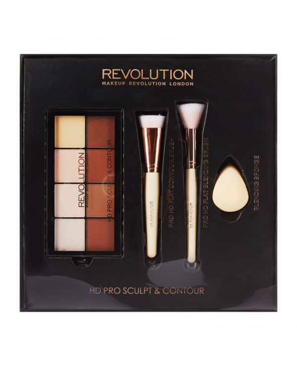 Revolution HD Pro Sculpt & Contour Set Palette & Contour Brush Beauty Blender