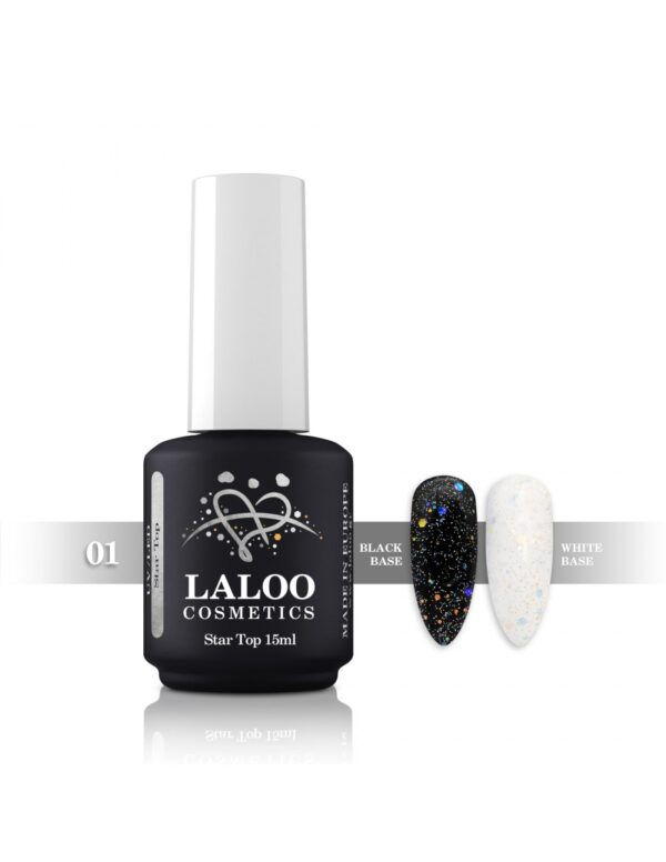 Top Coat για ημιμόνιμο με λάμψη Laloo Cosmetics Top Star 15ml N.01