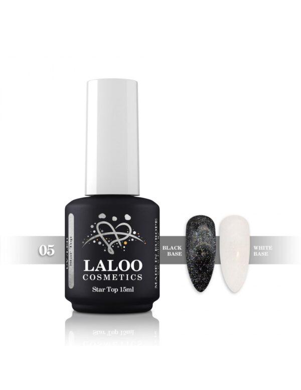 Top Coat για ημιμόνιμο με λάμψη Laloo Cosmetics Top Star 15ml N.05