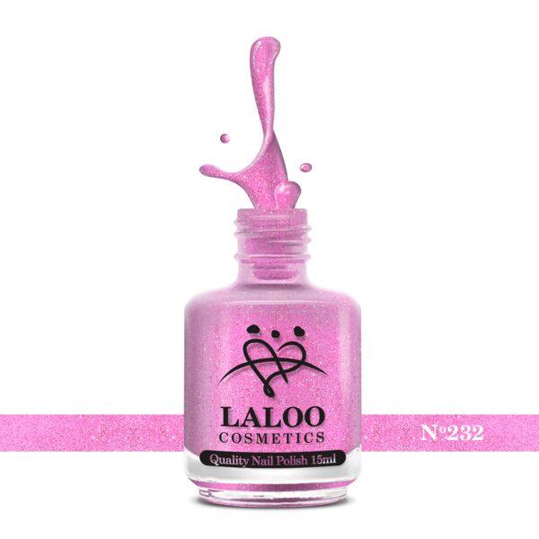 Απλό βερνίκι Laloo Cosmetics 15ml - N.232 Φούξια ανοιχτό glitter